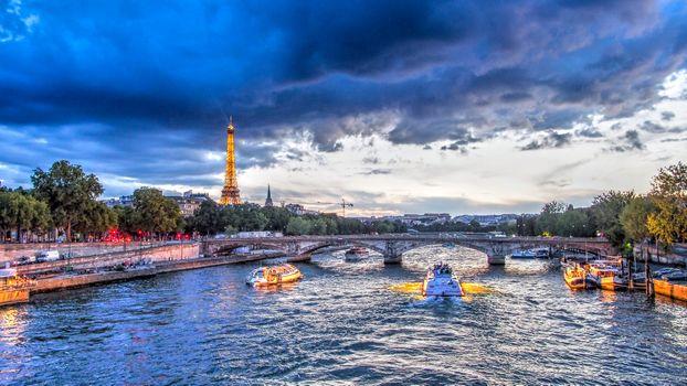 Фото бесплатно Seine River, Eiffel tower, Paris