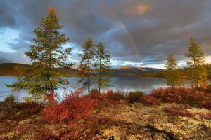 Радуга над озером · бесплатное фото
