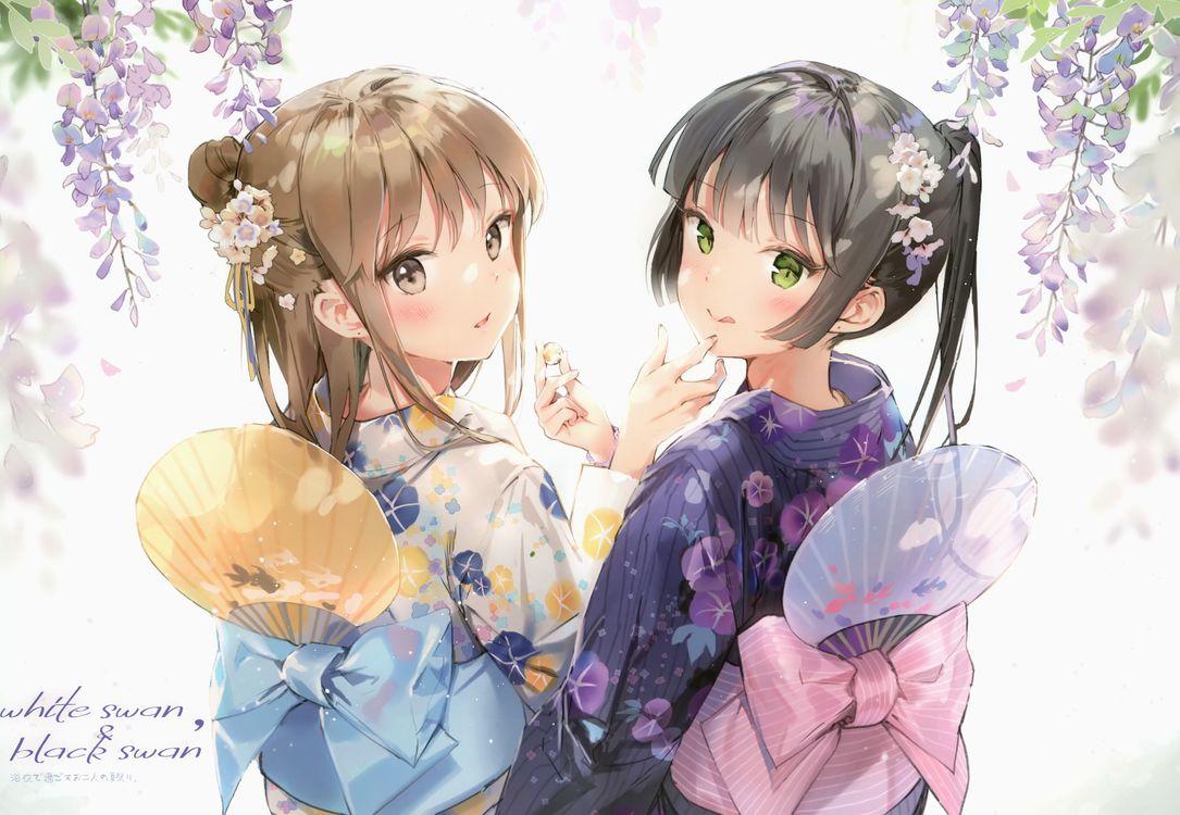 Фото бесплатно аниме девушки, кимоно, красивая - на рабочий стол
