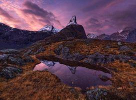Заставки Norway,закат,горы,озеро,водоём,небо,облака