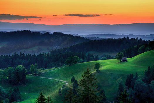 Бесплатные фото Альпы,Берн,Эмменталь,Европа,Швейцария,закат,горы,холмы,деревья,пейзаж