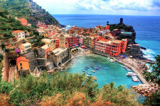 Бесплатные фото HDR,coastline,Vernazza,Italy,город,побережье,Италия