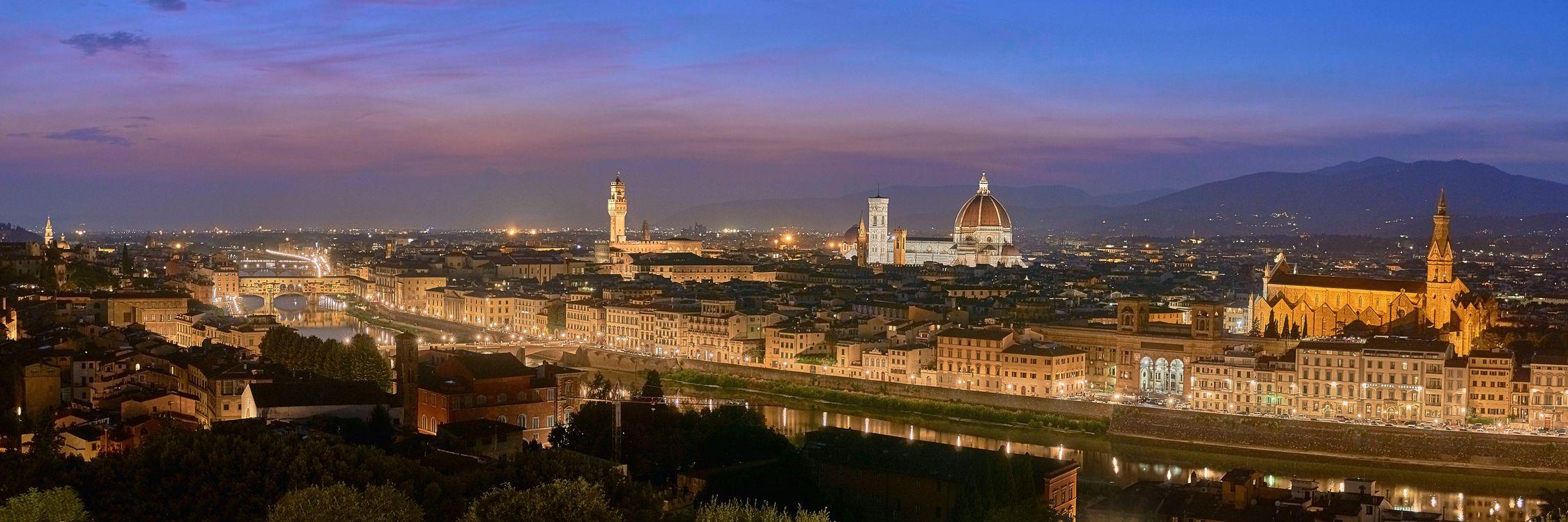 Фото бесплатно Флоренция, Италия, город, ночь, иллюминация, ночные города, панорама - на рабочий стол