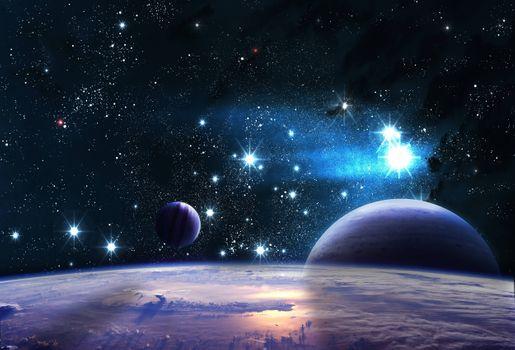 Фото бесплатно планета, отражение, космос