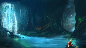 Заставки аниме пейзаж, водопад, лес
