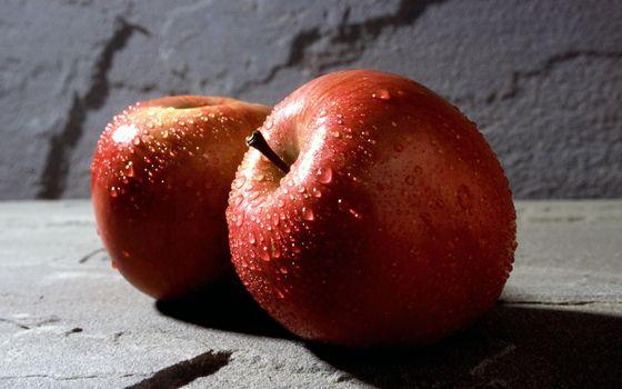 Фото бесплатно яблоки, капли, еда