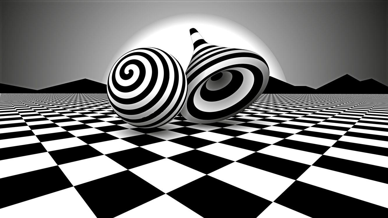 Обои иллюзия, 3d, черный и белый картинки на телефон