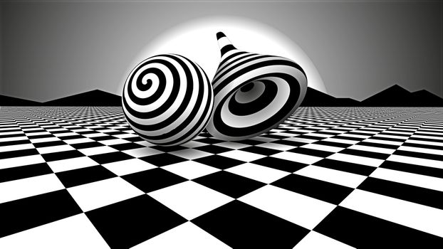 Photo free illusion, 3d, black and white