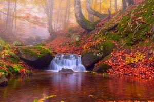 Заставки пейзаж, туман, водопад