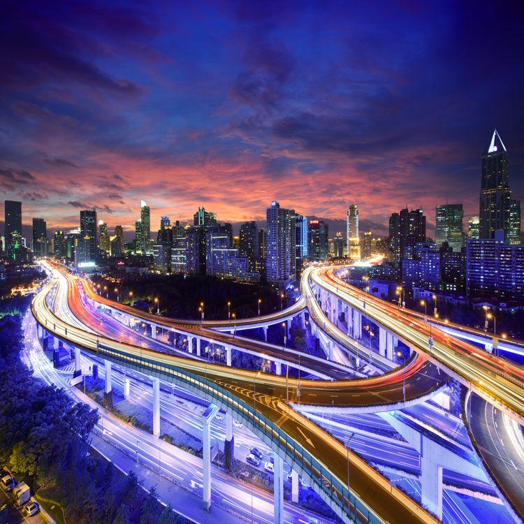 Фото бесплатно Китай, Shanghai, мосты, дороги, ночь, огни, иллюминация, ночные города, город