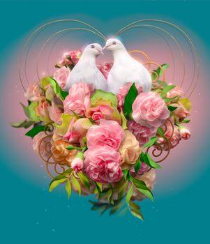 Бесплатные фото голуби,розы,цветы,сердечко,свадебная открытка,день святого Валентина,с праздником