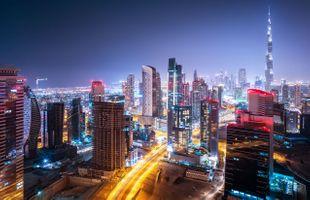 Фото бесплатно Ночной город, Дубай ОАЭ ночь, Небоскребы