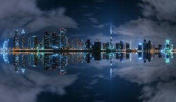 Заставки Дубай, ночной город, огни