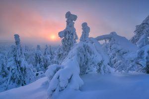 Заставки закат, Лапландия, снежные заносы