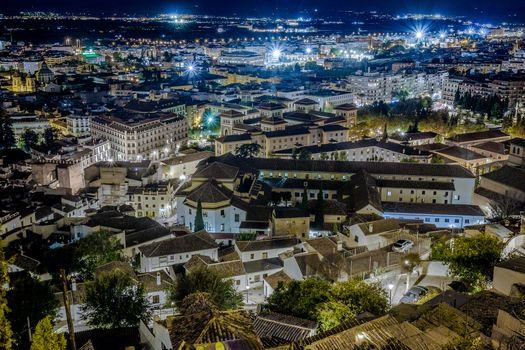 Фото бесплатно вид сверху, ночной городской пейзаж, иллюминация