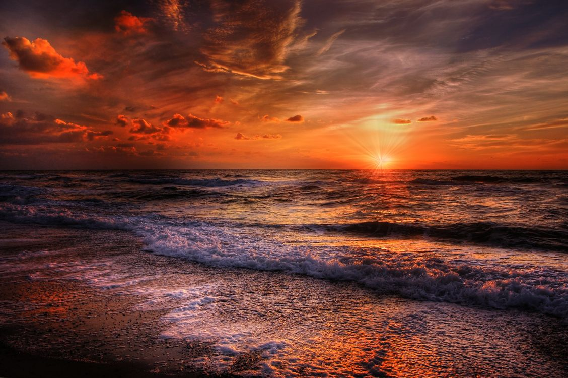 Фото бесплатно закат, облака, пляж - на рабочий стол