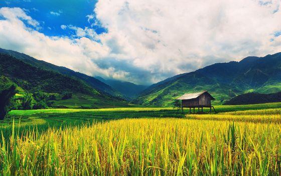Фото бесплатно домик, облака, ферма