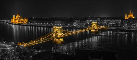 Заставки Будапешт,Дунай,парламент,ночь,Венгрия,иллюминация,ночные города