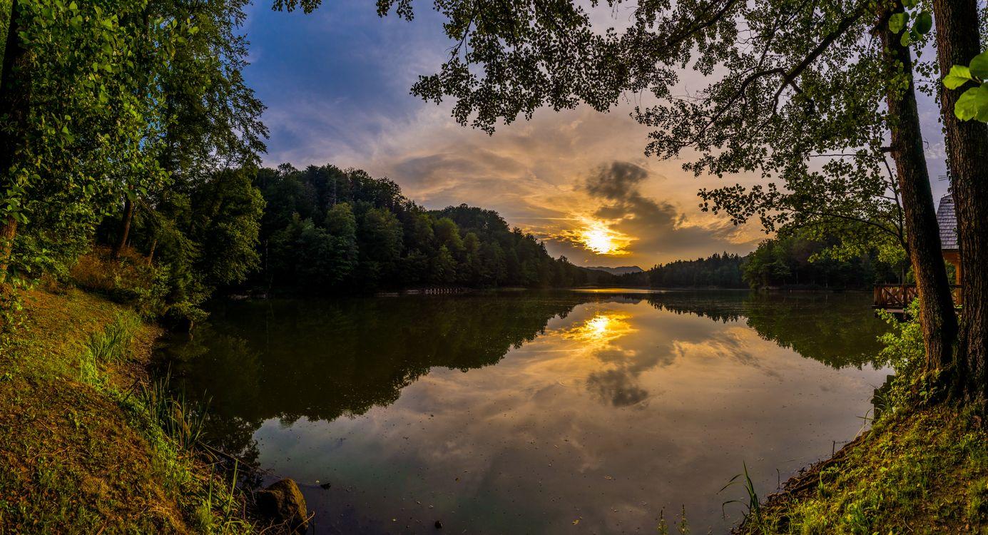 Фото бесплатно Самян, озеро, Тракошчан, Хорватия, утро, осень, Восходсолнца, пейзаж, пейзажи