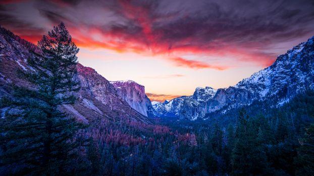 Photo free yosemite valley, california, sunset