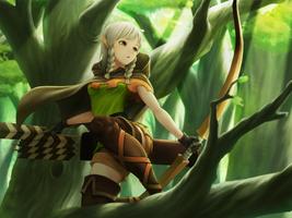 Фото бесплатно аниме, аниме девушки, дракон 039 с короной, лук, косы, карие глаза, лес, седые волосы, длинные волосы, два хвостика, оружие, zettai ryouiki