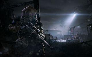Фото бесплатно warface, снайпер, винтовка, McMillan CS5, ночь, вертолет, выживание