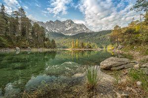 Бесплатные фото Озеро Айбзее,Германия,горы лес,деревья,камни,природапейзаж