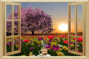 Бесплатные фото весна,окно,поле,цветы,цветение,дерево,закат