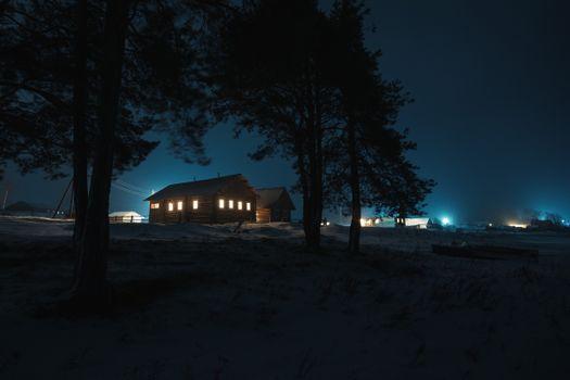 Фото бесплатно ночь, огни, деревья
