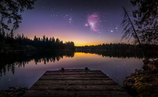 Фото бесплатно сумрак, пруд, ночь