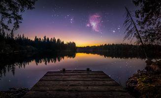 Заставки ночь, сумерки, озеро