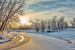 Фото бесплатно река, Зимняя река, природа