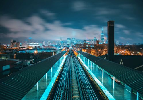Фото бесплатно пейзаж, железная дорога, ночь