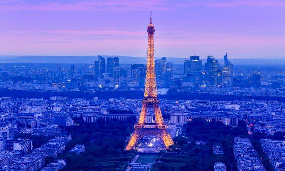 Заставки Эйфелева башня,Париж,Франция,город,ночь,иллюминация