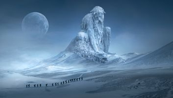 Бесплатные фото фантазия,пейзаж,горы,человеческого,странник,скульптура,памятник