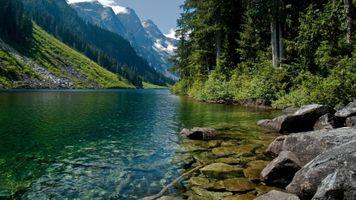 Фото бесплатно горы, река, речка
