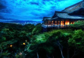 Бесплатные фото Япония,Киото,храм,Архитектура,закат,деревья,пейзаж