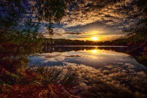Фото бесплатно лес, озеро, облака