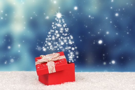 Бесплатные фото фон,снег,подарок,лента,зима