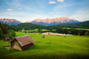 Бесплатные фото Озеро Герольдзее,домики,сооружения,постройки,Германия,Geroldsee,Южный Тироль