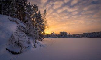 Бесплатные фото озеро, закат, Финляндия, лед, деревья, снег, сугробы