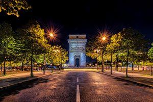 Фото бесплатно Франция, деревья, ночь