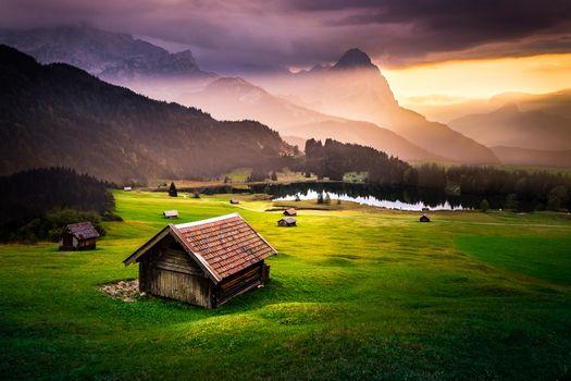 Заставки Озеро Герольдзее,Германия,Geroldsee,Южный Тироль,Альпы,Гармиш,Партенкирхен,сельская местность,Bavaria,Бавария,пейзаж,закат