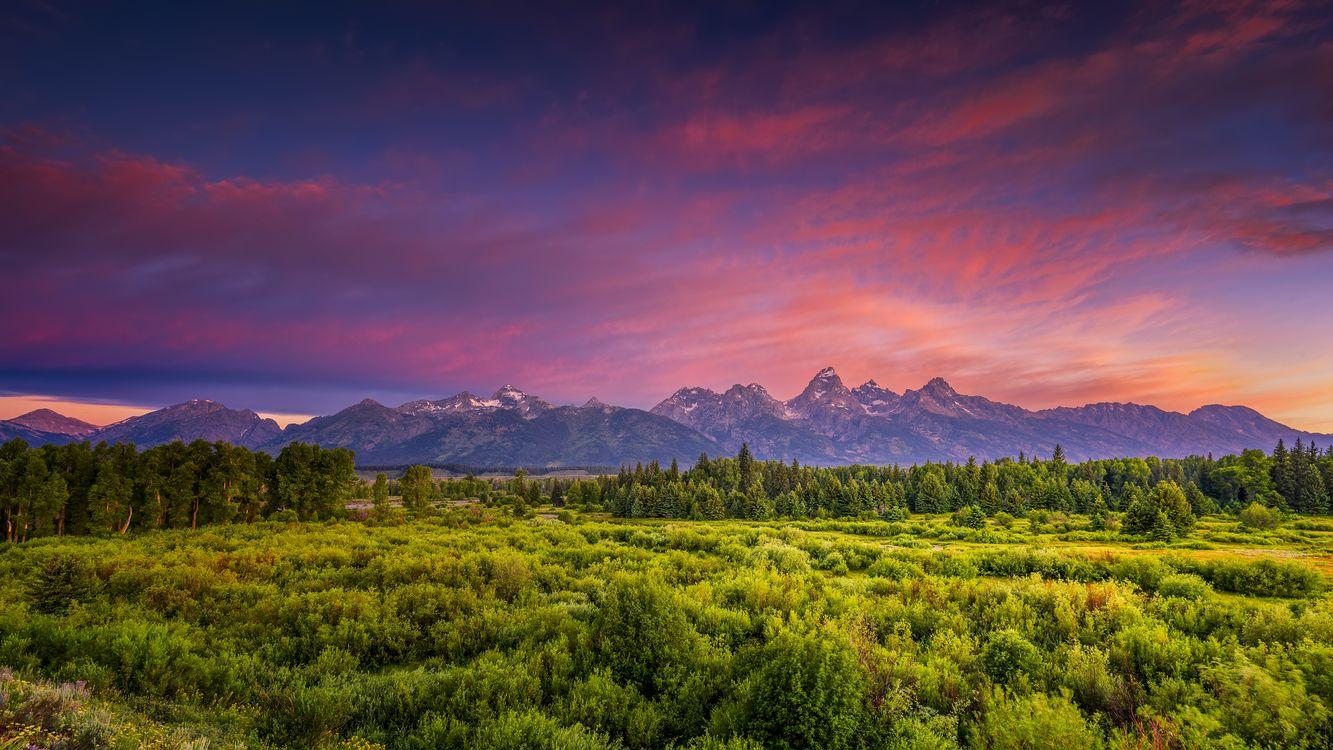 Фото бесплатно Blacktail Ponds Overlook, Grand Teton National Park, Вайоминг, закат, горы, лес, деревья, поле, небо, природа, пейзаж, пейзажи