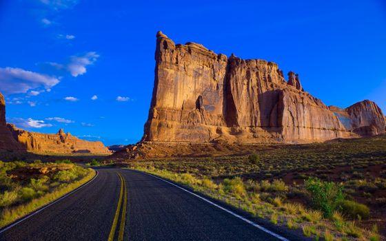 Фото бесплатно голубое небо, дорога, горы