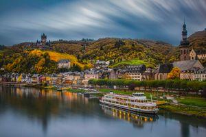 Фото бесплатно Cochem, Germany, Кохем, река Мозель, Германия в сумерках, Mosel, Кохем-Мозельская Долина, Замки Мозеля, мост, город, пейзаж