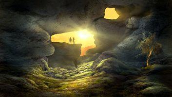 Пещера с закат солнца · бесплатное фото