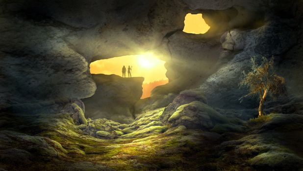 The cave with the sunset