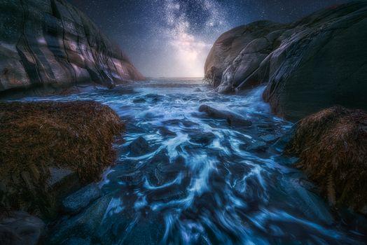 Заставки Stavern,Norway,океан,море,закат,волны,скалы,сияние,природа,пейзаж