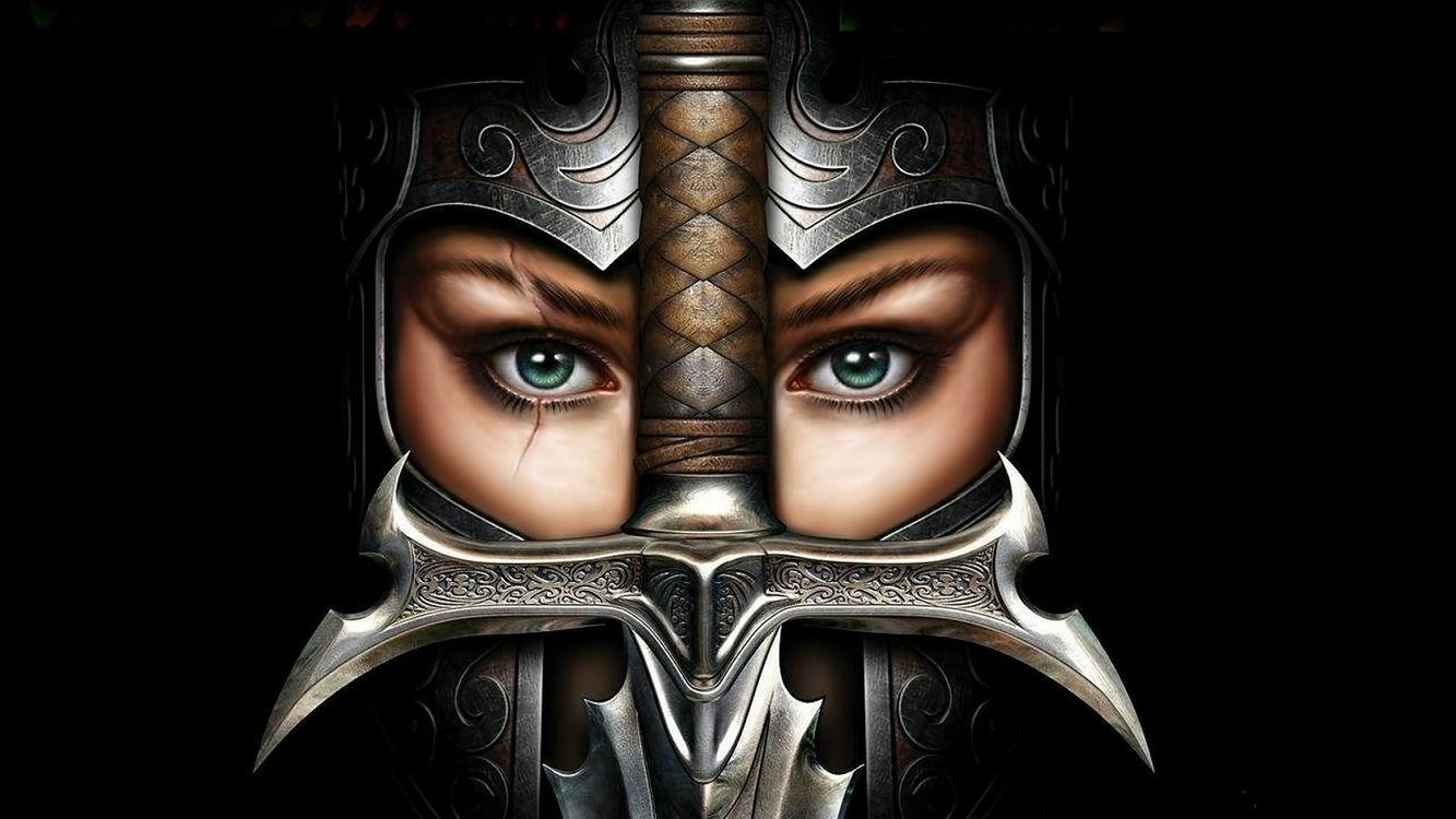Free photo women, soldiers, armor, sword, face, eyes, fantasy - to desktop